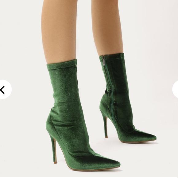 Public Desire Shoes - NWT Punkic Desire Velvet Green Booties